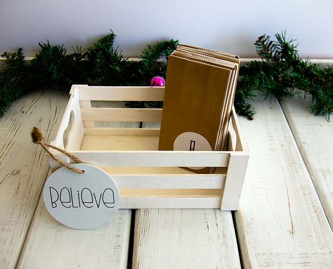 White/Kraft Advent Calendar Crate