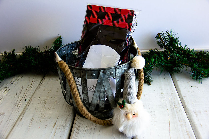 R/B Buffalo Check - Advent Calendar Small Basket