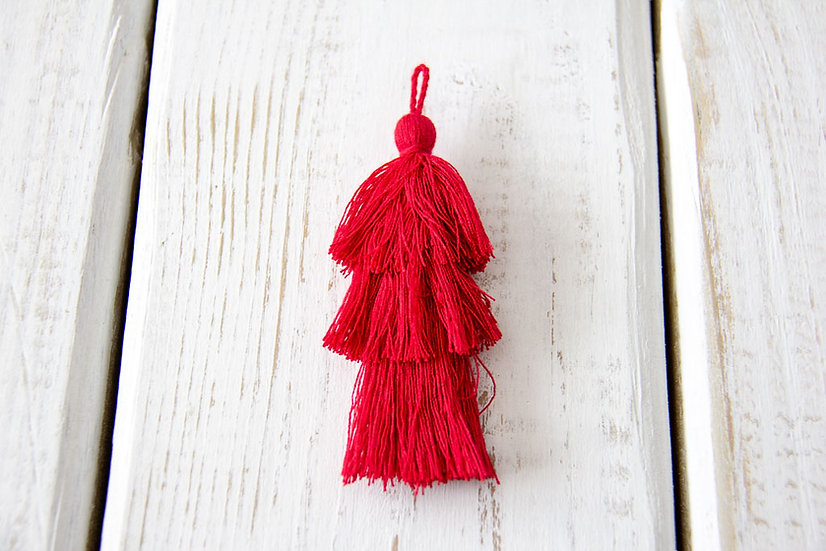 Red Fringe Tassel - Gift Wrap Embellishment