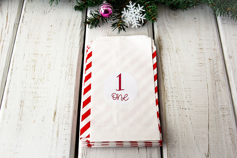 Red/White Stripes - Advent Calendar Bags