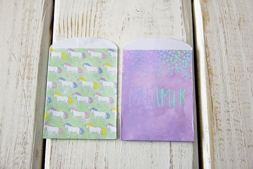 Dreamer Unicorn Paper Gift Card Bags