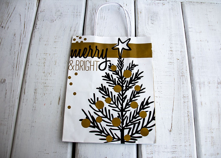 Medium Merry and Bright Gift Bag - Black, White and Gold