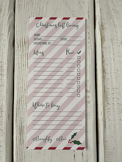 "Christmas Gift Giving Notepad - 3.6"" x 8.5"""