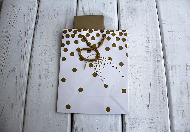 Medium Gift Bag with Tissue - Gold and White Dots