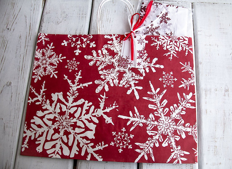 X-Large Gift Bag with Tissue - Red and White Snowflakes
