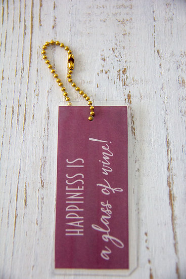 Happiness Is A Glass of Wine - Premium Gift Tag
