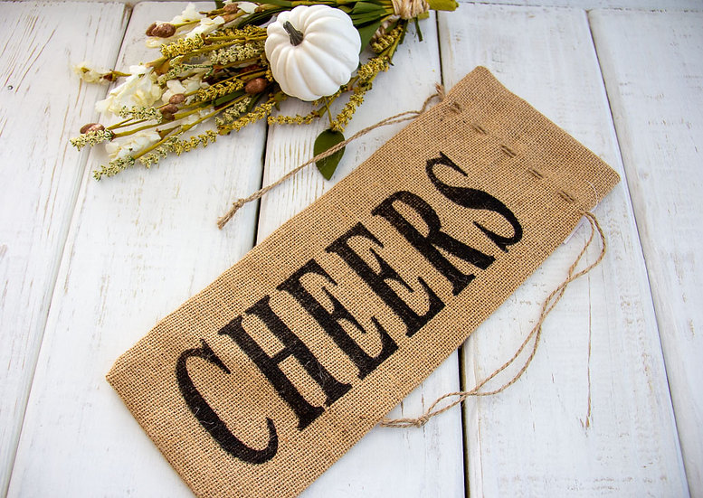 Cheers - Burlap Wine Gift Bag