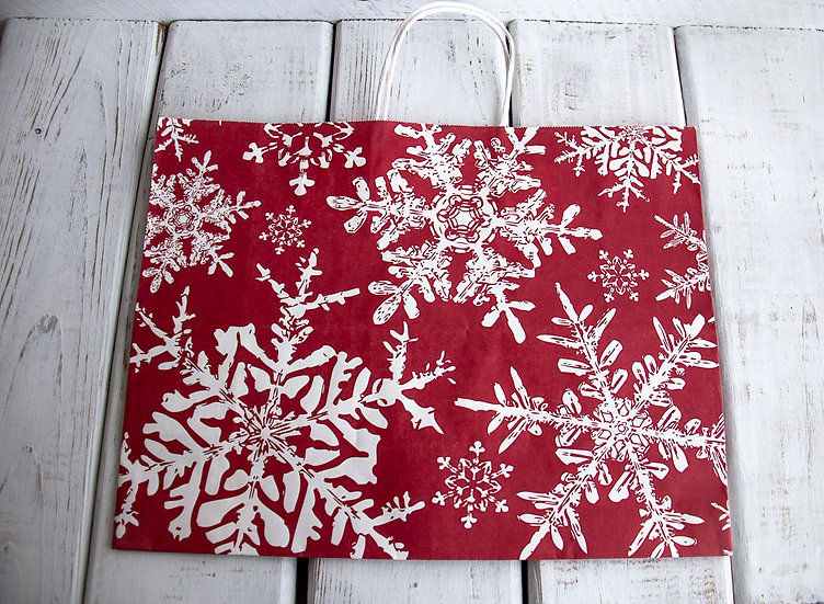 X-Large Snowflake Gift Bag - Red and White