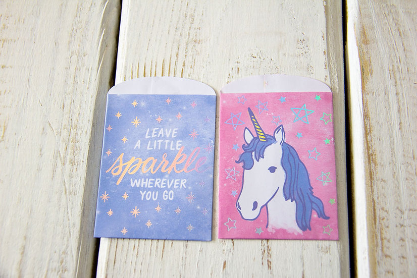 Sparkle Unicorn Paper Gift Card Bags