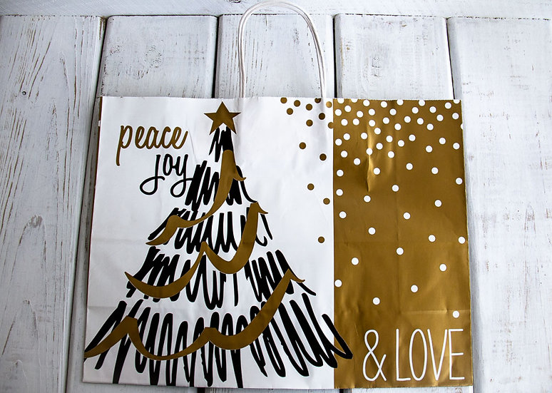 X-Large Peace Joy Gift Bag - Black, White and Gold