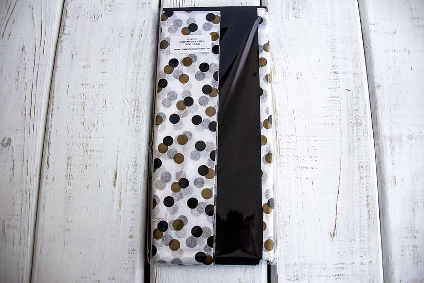 Tissue Paper Mix Pack - Black, White and Gold Dots