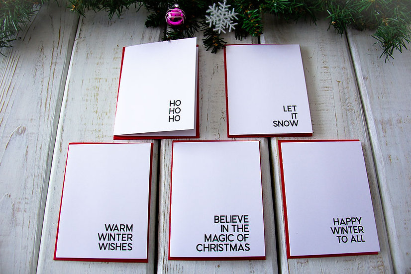 Black and White Bold Christmas - Note Card Set
