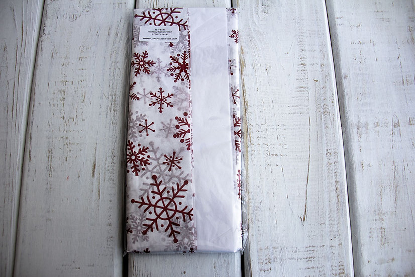 Mixed Pack of Tissue Paper - White with Red Snowflakes