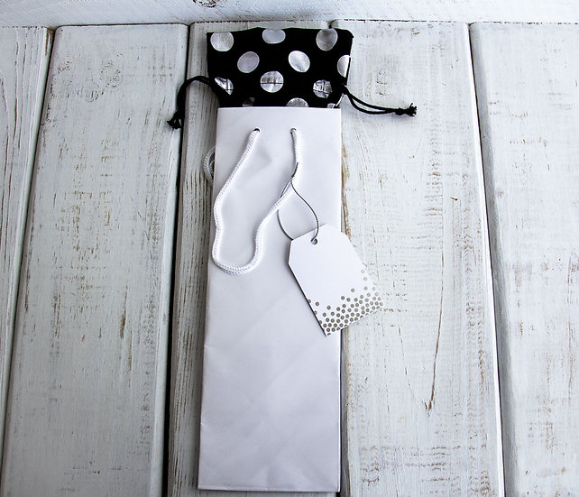 White Wine Gift Bag with Organza Insert