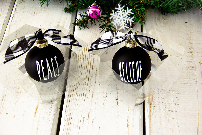 Black Matte Glass Ornament 2018 Style - Various Sayings
