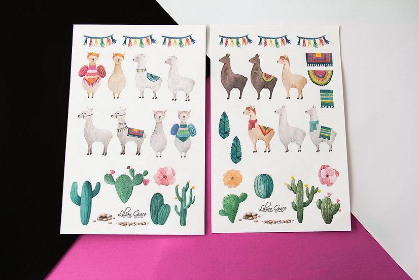 Llama and Cactus - Stickers