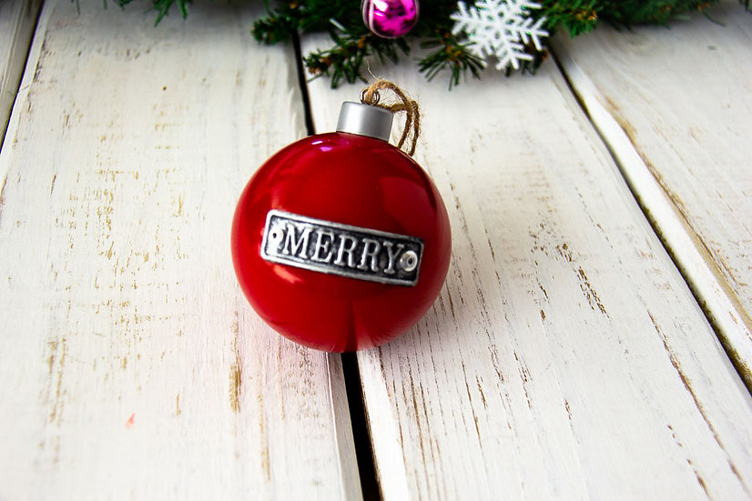 Merry- Metal Ornament