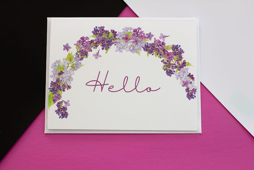 Lilacs Arch Hello - Note Card