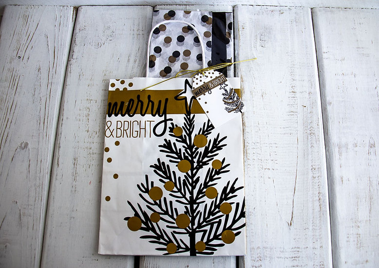 Medium Gift Bag with Tissue - Black, White and Gold