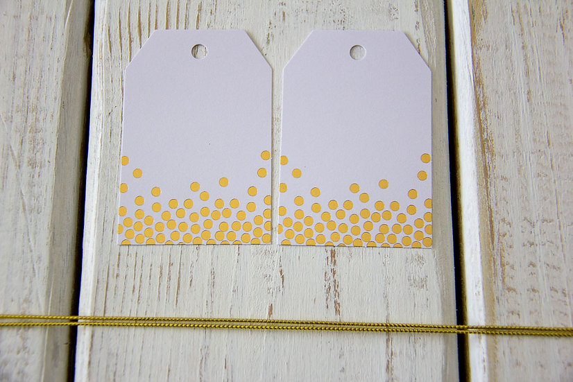 Gold Dot White Gift Tags