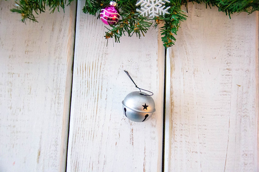 Large Silver Matte Jingle Bell - Gift Embellishment