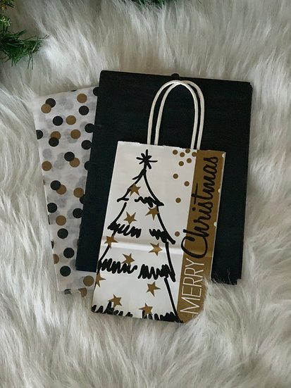 Small Gift Bag with Tissue - Black, White and Gold