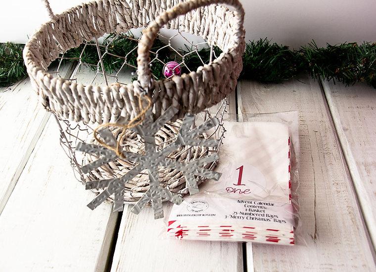Red/White Stripes - Advent Calendar Basket