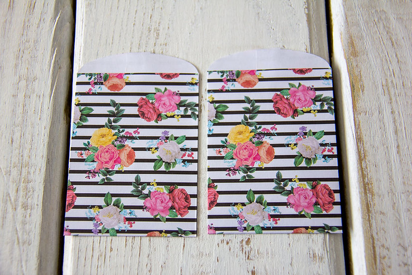 Floral Stripes Paper Gift Card Bags