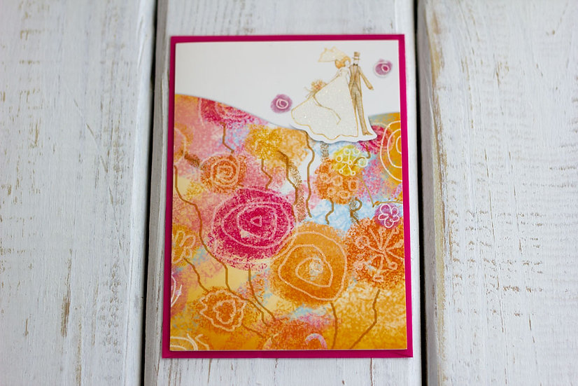 Couple on Orange (Wedding) - Greeting Card