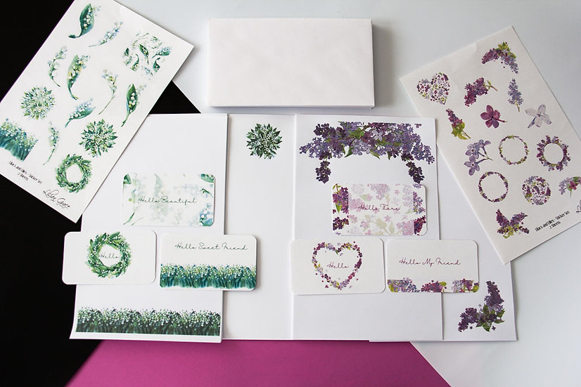 Lilacs and Lilies - Stationery Pack