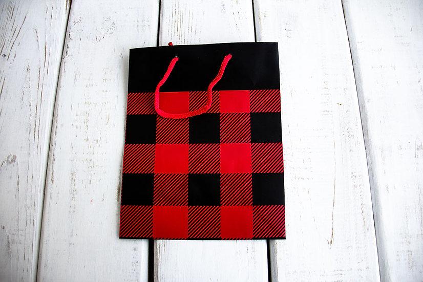 Medium Gift Bag - Black/RedBuffalo Check