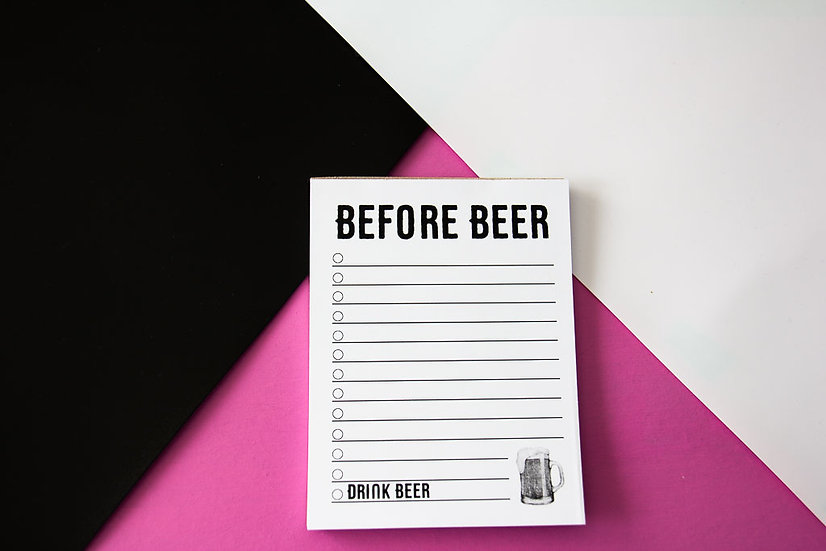 Before Beer List Notepad - Premium