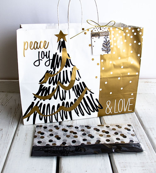 X-Large Gift Bag with Tissue - Black, White and Gold