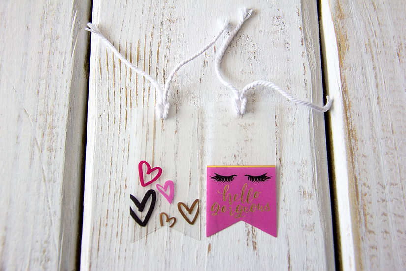 Hello Gorgeous Pink & Clear Gift Tags