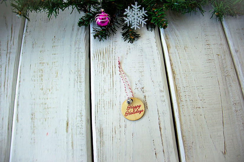 Wooden Circle Happy Holidays - Gift Embellishment