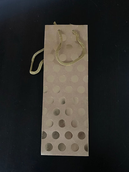 Kraft with Gold Foil Dots Wine Gift Bag