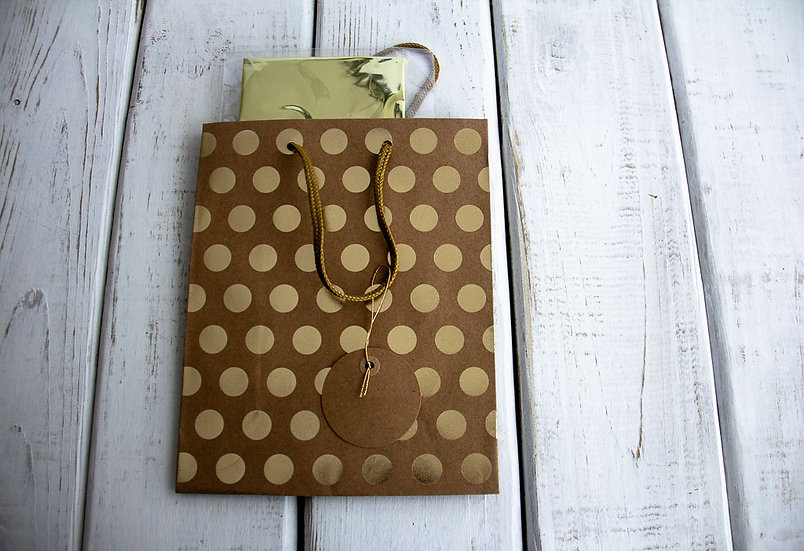 Medium Gift Bag with Tissue - Kraft with Gold Foil Dots