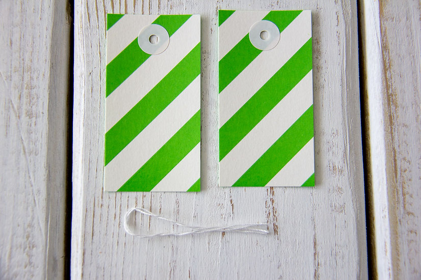 Green and White Stripe Gift Tags