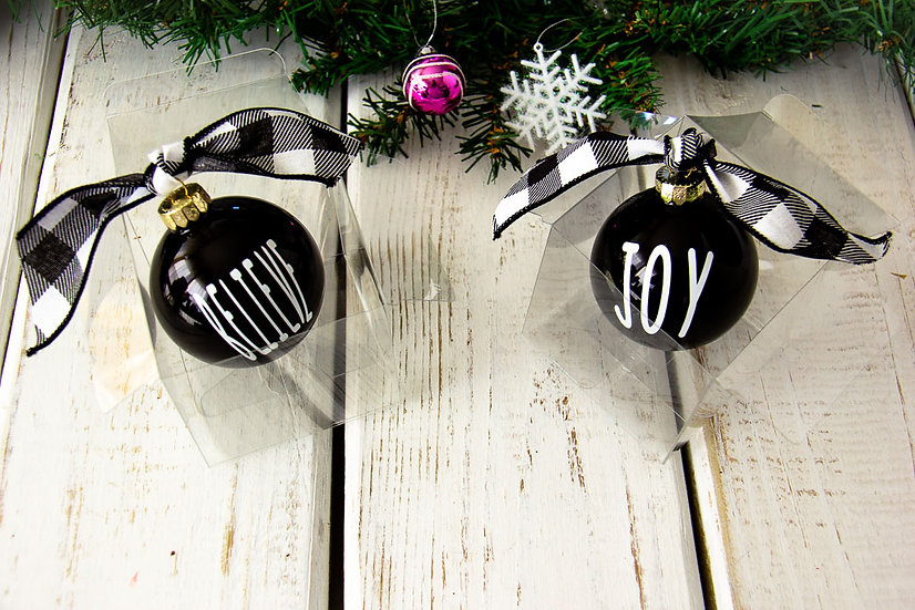 Black Gloss Glass Ornament 2018 Style - Various Sayings