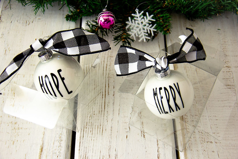 White Glass Ornament 2018 Style - Various Sayings