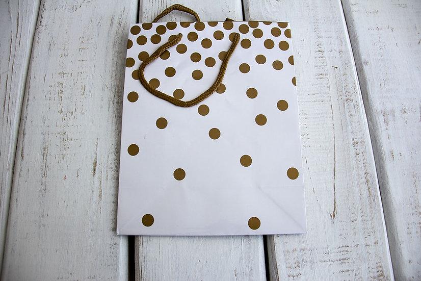 Medium Gift Bag - Gold and White Dots