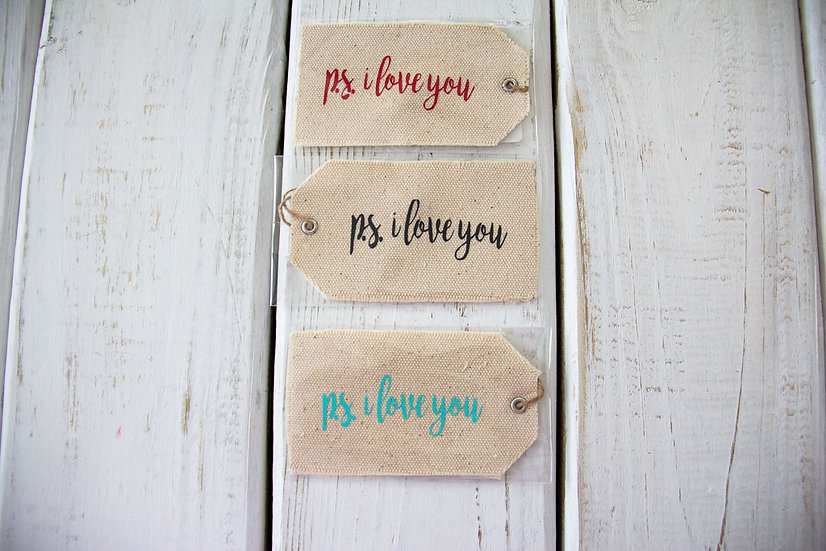 PS I Love You - Canvas Gift Tag