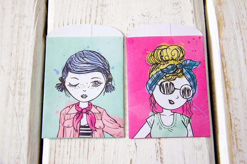 Lovely Women 2 Paper Gift Card Bags