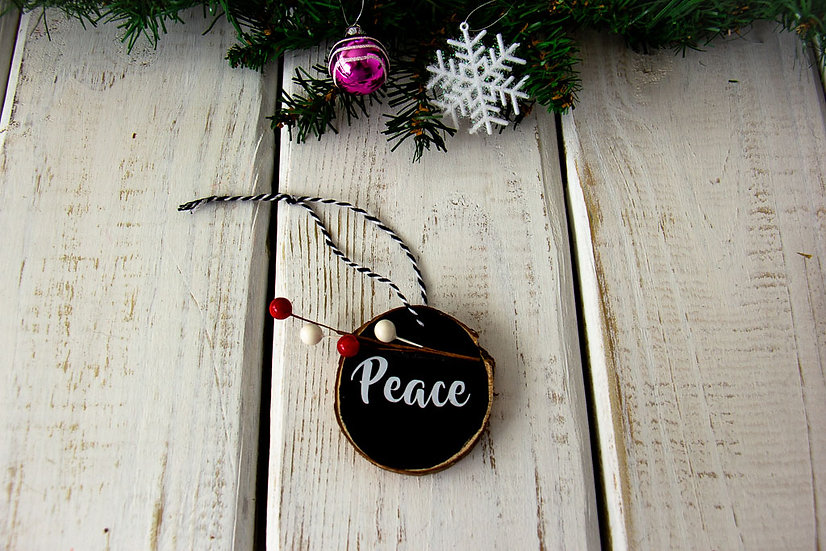 Peace - Wood Slice Ornament