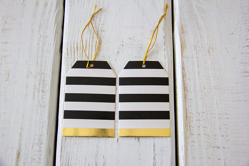 Black, White and Gold Striped Gift Tags