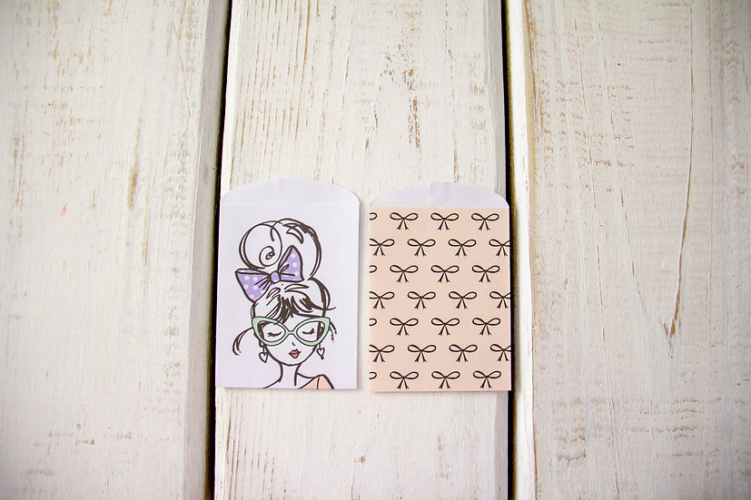 Girl & Bows Paper Gift Card Bags