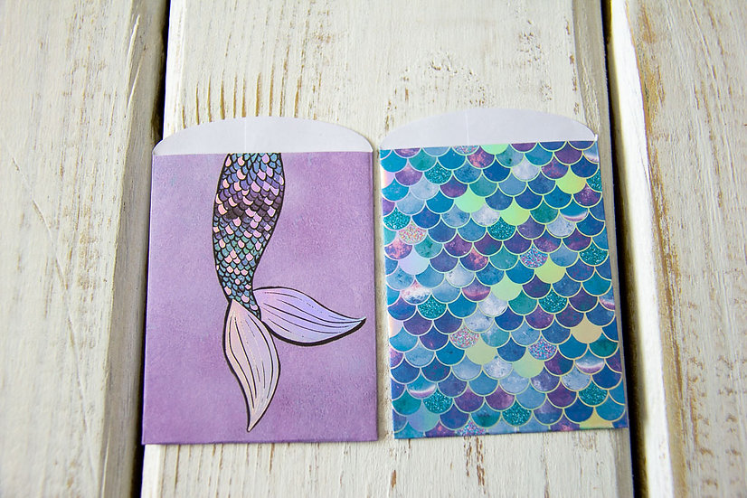 Mermaid Tail Paper Gift Card Bags