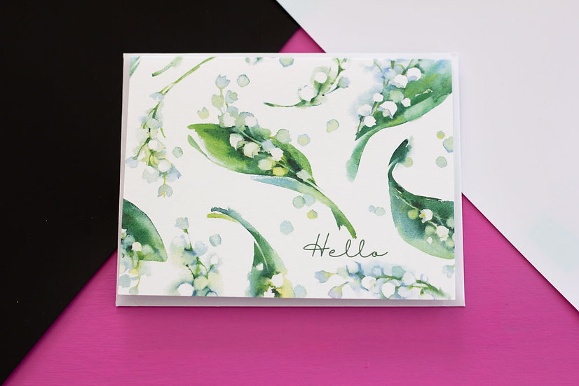 Lily of the Valley Hello - Note Card