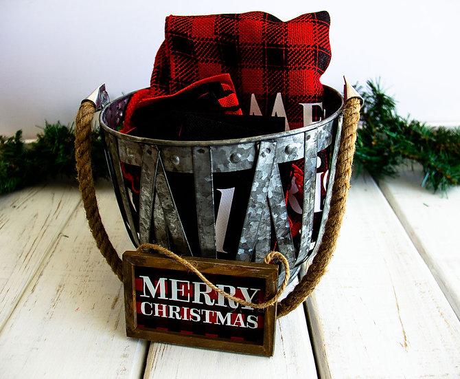 Reusable R/B Buffalo Check - Advent Calendar Medium Basket