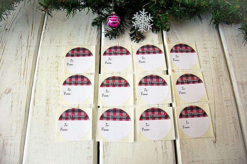 Red/Black Buffalo Check - Adhesive Gift Tags